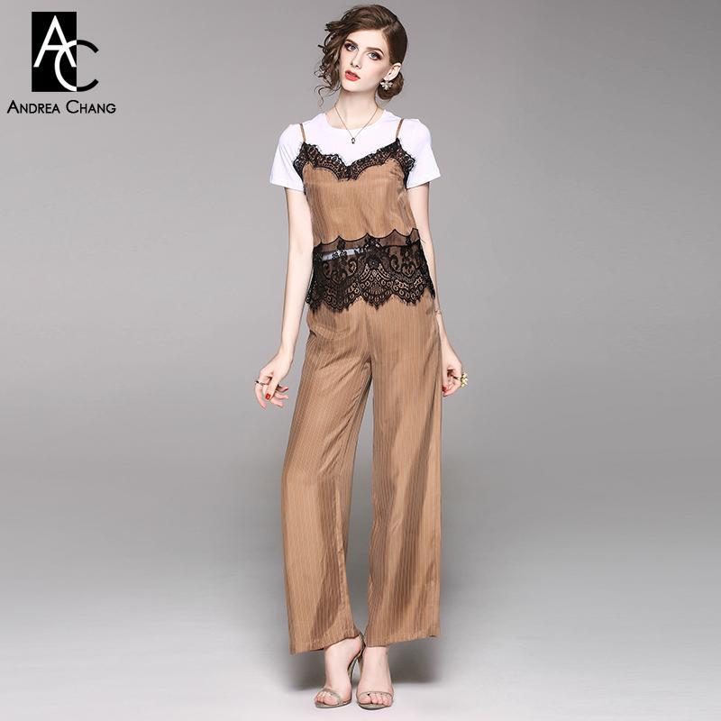 26395434d38f ropa de mujer de primavera verano conjunto blanco camiseta de patchwork de  encaje blanco negro top pantalones de patrón de tira caqui verde traje de  ...