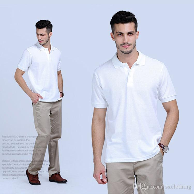 204f0638ce4 2019 Hot Sale White Short Sleeve Men Polo T Shirts 100% Cotton Factory  Wholesale From Sxclothing