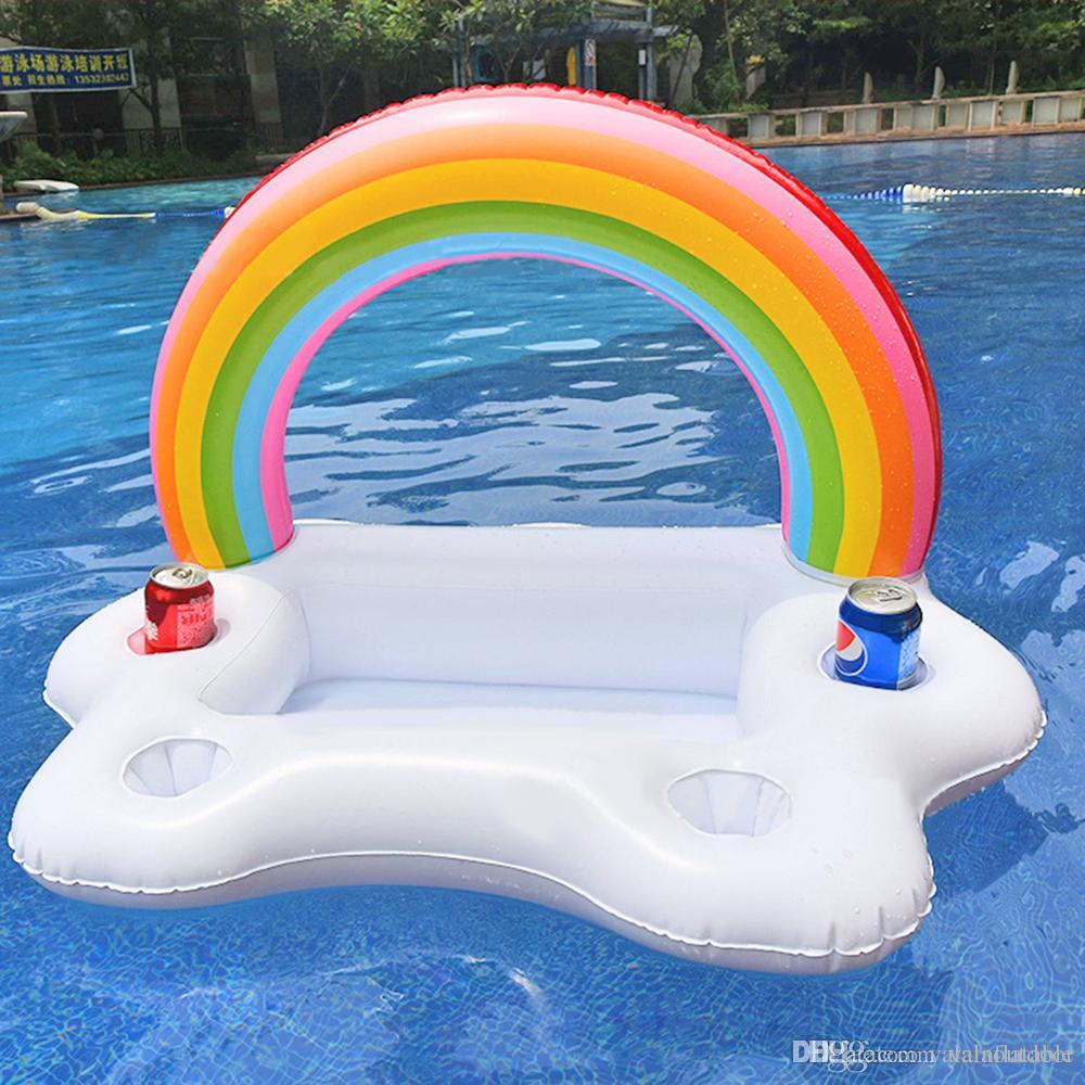 Inflatable Rainbow Pool Drink Holder Float Toys Swimming Ring - Rainbow pool table
