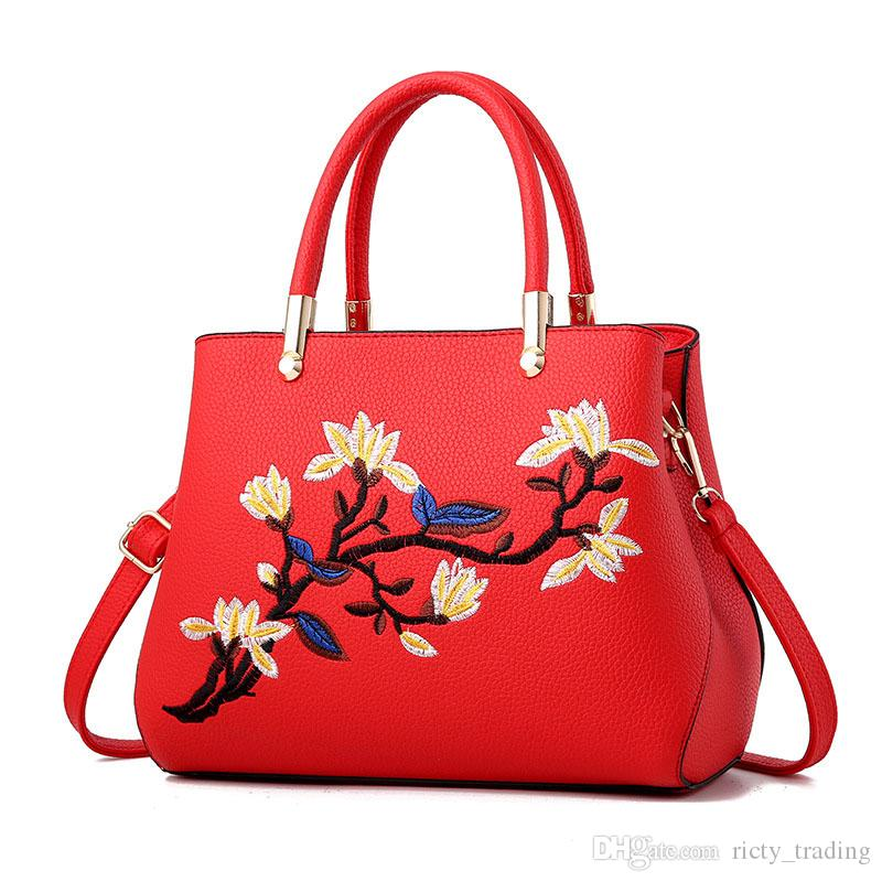 fb6ff2c2c6 Fashion Handbags 2018 Luxury Embroidered Floral Designer Tote Bags For  Women High Quality PU Leather Female Messenger Bag Discount Designer  Handbags ...