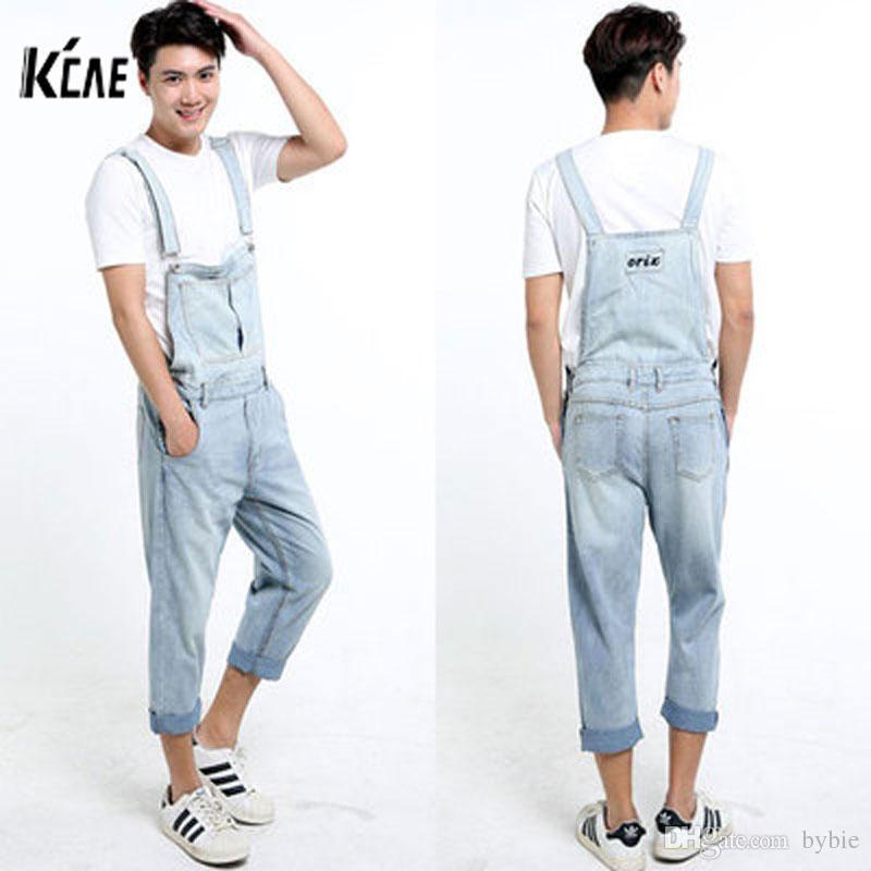 bed5d35ebe6b 2019 Wholesale 2016 New Brand Men Denim Overalls Shorts Vintage Ligh Blue  Washed Plus Size S 5XL Jeans BiB Overalls Jumpsuits From Bybie