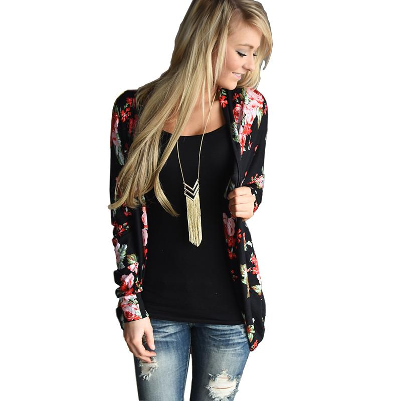 86f703c654b 2019 2018 Floral Print Autumn Long Sleeve Women Cardigan Plus Size Loose  Casual Open Stitch Vintage Oversize Female Coat Sweater From Burtom