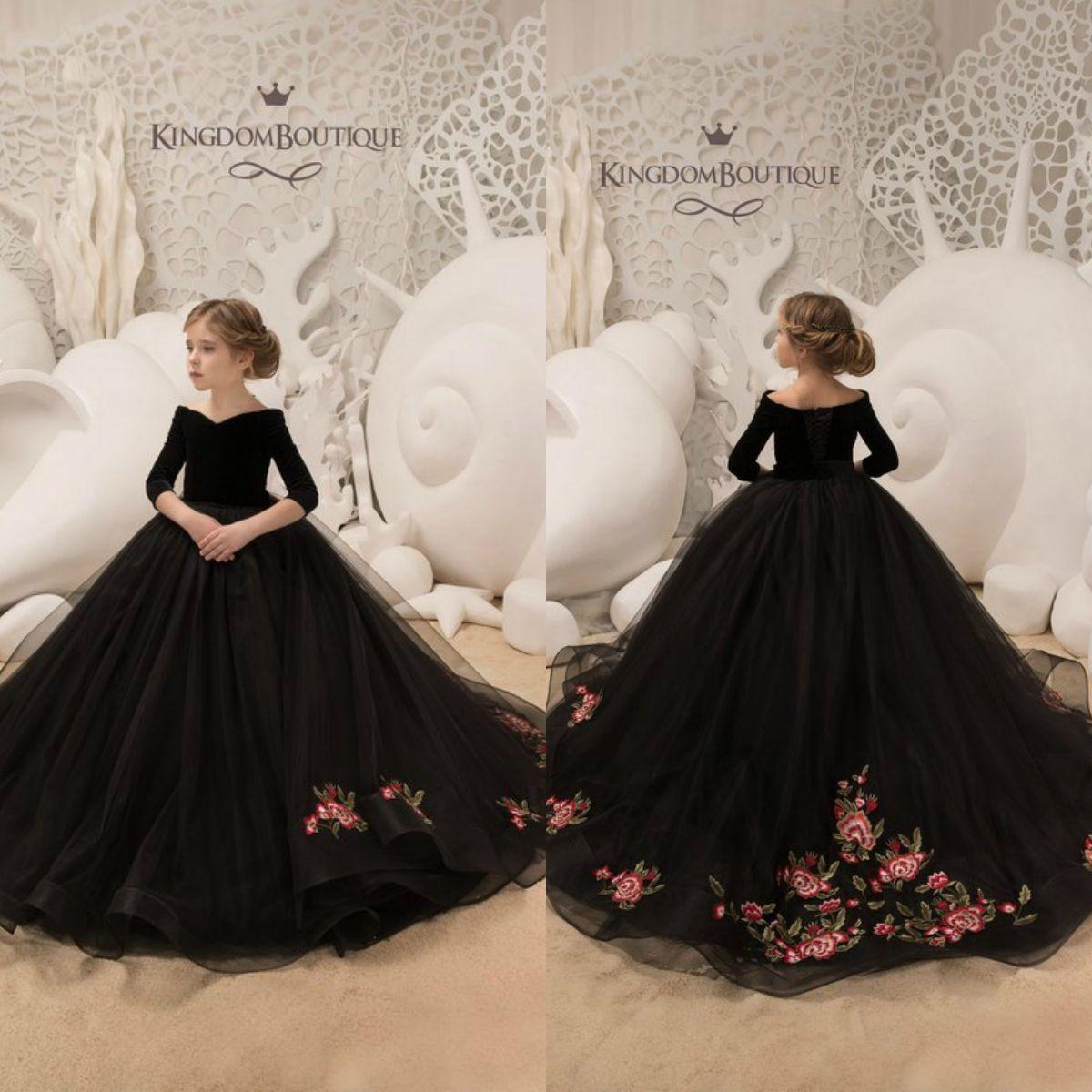 280f7d898 Compre Vestidos Bonitos De Flores Para Niñas Negras Fuera Del Hombro  Bordado 3 4 Manga Larga Princesa Vestido Para Niños Vestidos De Fiesta  Formales ...