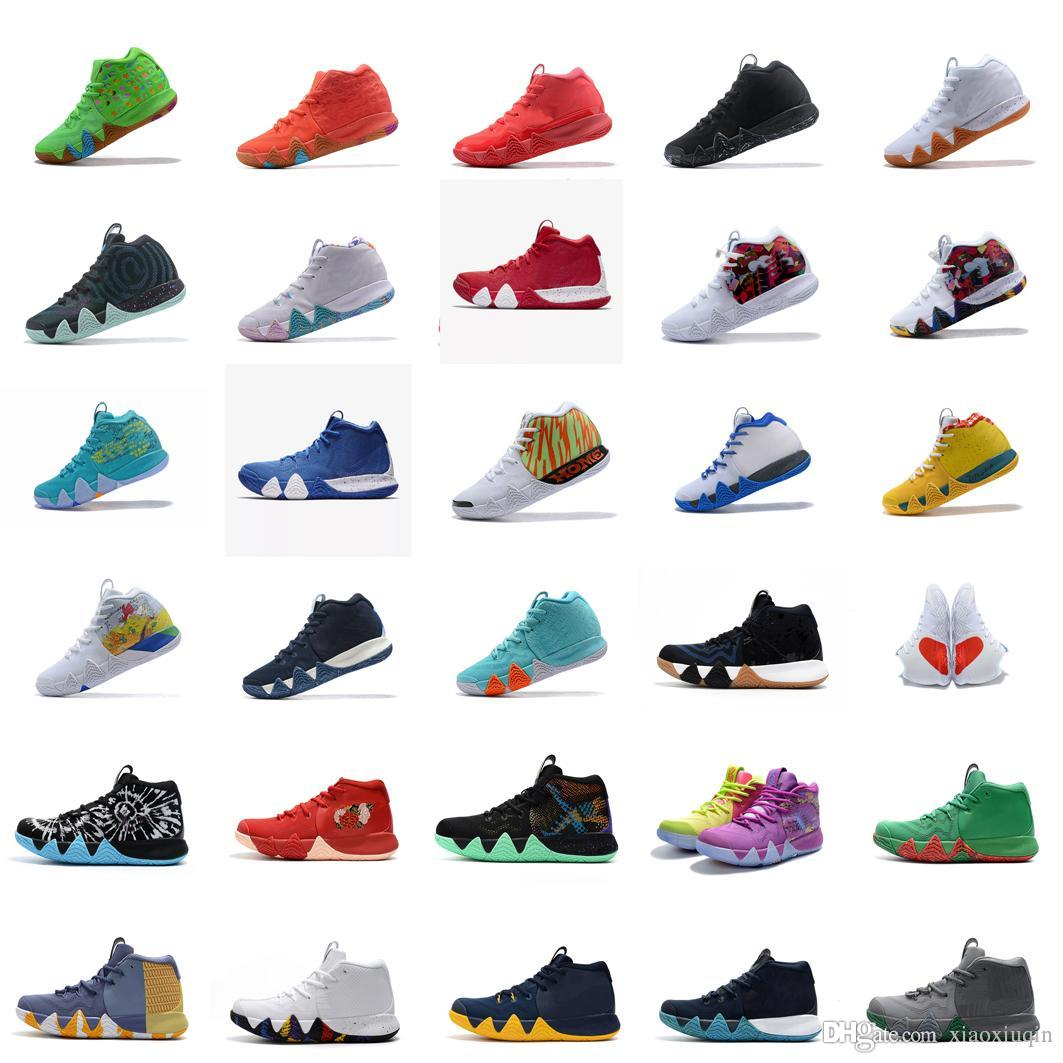 timeless design 255d0 5b0c7 Cheap Mens Kyrie IV basketball shoes for sale Lucky Charms Green Halloween  Team Red Blue Wheat New kyries irving 4s sneakers tennis with box