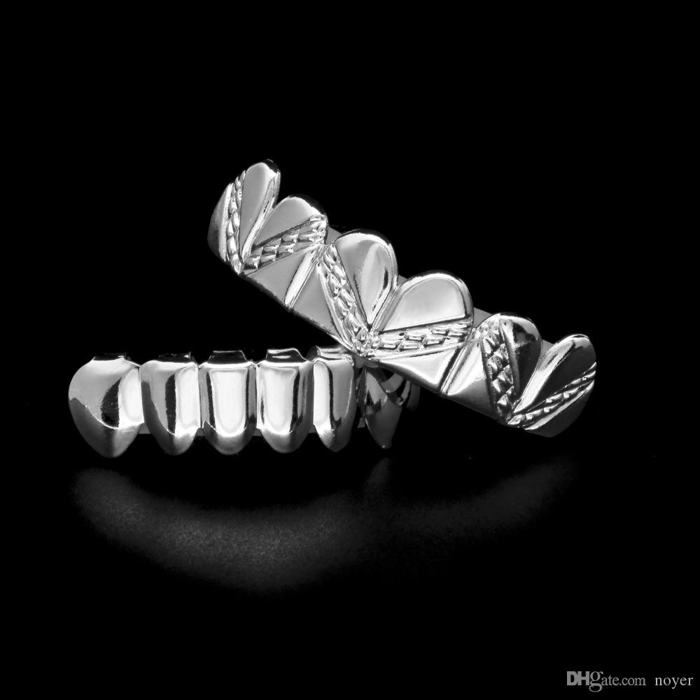 Mens hip hop jewelry Gold Plated Grillzs European and American style crystal hiphop tooth Dental Grills accessorie