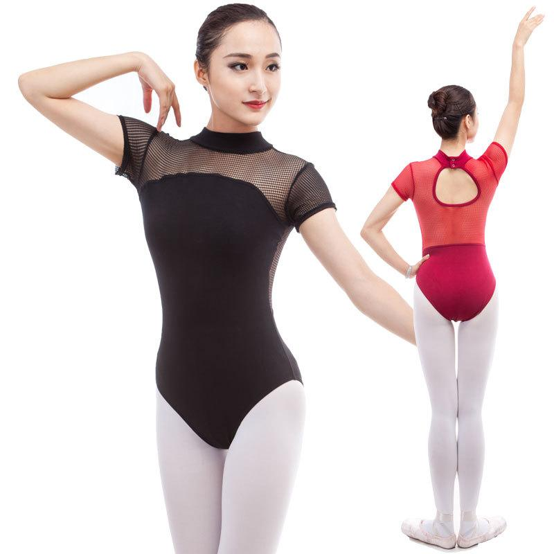 Sexy Ballet Dance Mesh Yarn Bodysuit Tops Stager Performance Wear Short  Sleeve Leotard Ballet Practice Leotards Clothes DWY927