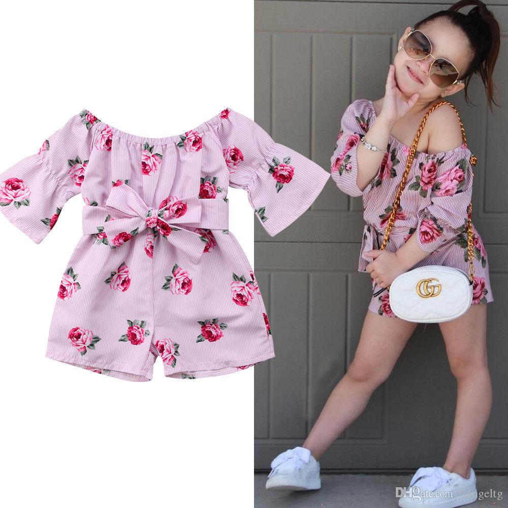 109472329e7a 2019 Baby Girls One Shoulder Rompers Elastic Wide Boat Neck Belt Bow Rose  Flora Printed Striped Pink Jumpsuits Half Sleeve Kids Clothing 6M 5T From  ...