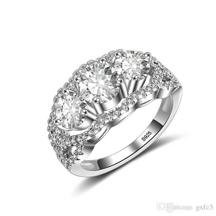 Femmes En Argent Sterling 925 Zircone Trois Pierres Other Fine Rings