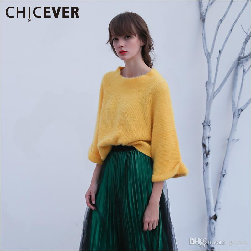 658b2b12c2b2c CHICEVER Off Shoulder Sexy Sweaters for Women Slash Neck Knitting Pullover  Female Tops Batwing Flare Sleeve Casual Jumper Autumn
