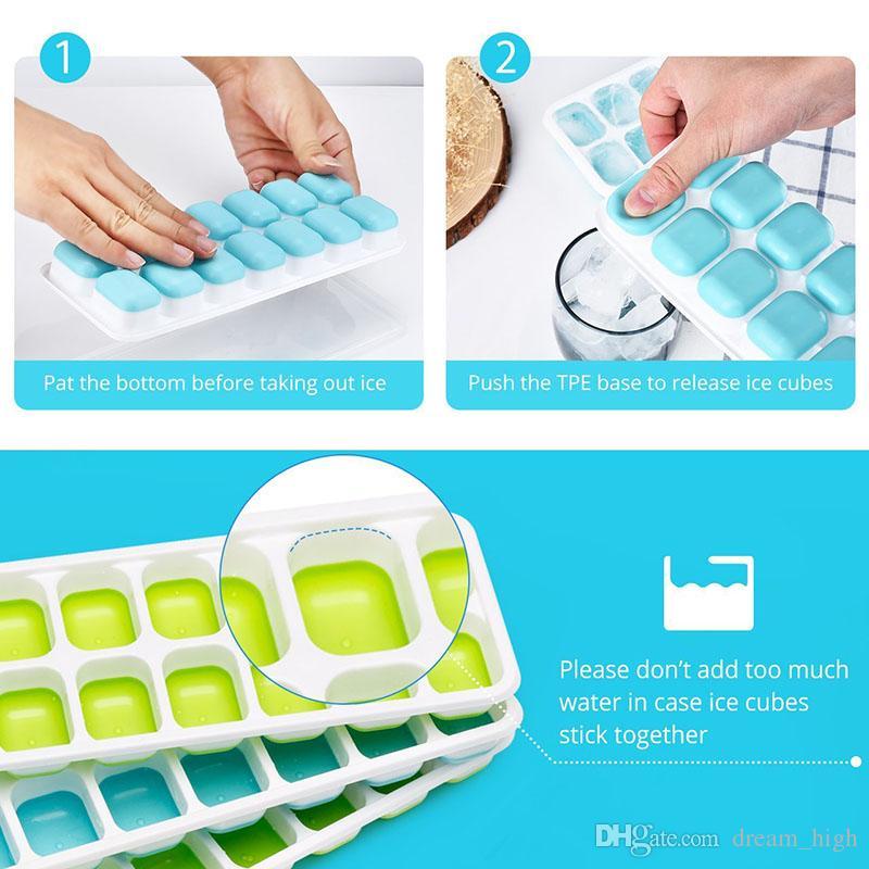 Diy 14 Cubos de Silicone Ice Lattice Mold com Tampa Tampa Cubo De Gelo Congelado Fazendo Ferramenta Bandejas De Cubo De Gelo Bar De Cozinha Acessórios