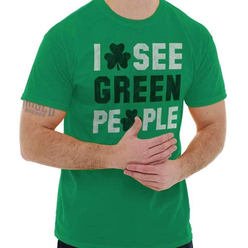 bad6cdf40c8a8 Compre Detalhes Zu Eu Ver Pessoas Engraçadas Camisa Verde Irlandês St  Patrick Day Presente Idéia T Camisa Engraçado Frete Grátis Unisex Presente  Ocasional ...