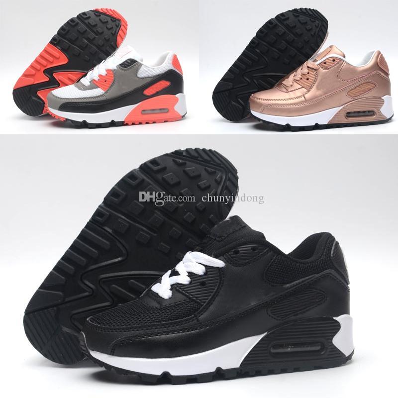 new concept 1dbce f8693 Großhandel Nike Air Max 90 Neue 2018 Zoom Air KTINY 90 V2 Laufschuhe Slip  On Kinder Sportschuhe Jungen Mädchen Training Sneaker Kinder Sportschuhe  Schwarz ...