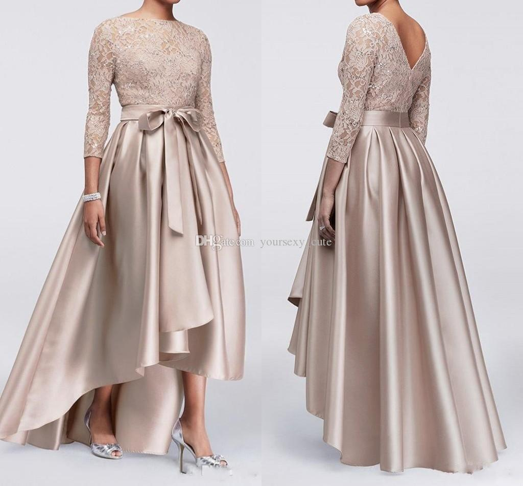 d39c3230037d 2018 Champagne High Low Mother Of The Bride Dresses Lace Satin Long Sleeves  Prom Dresses Plus Size Wedding Guest Dresses Brides Mother Dress Cheap  Mother Of ...