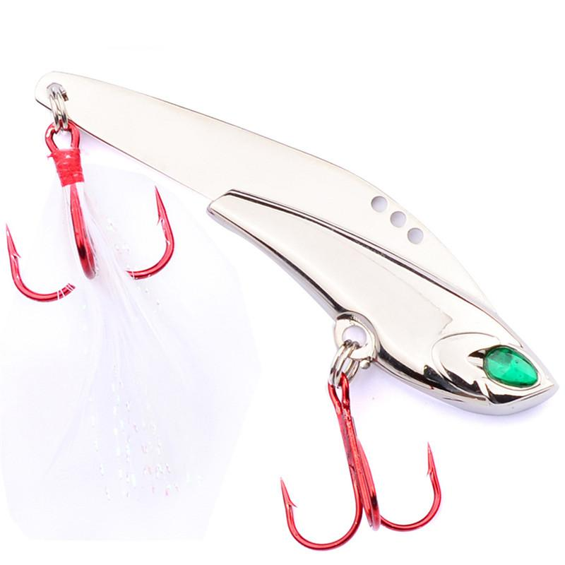 2018 Deep Diving Fly Fishing 3D Eyes Metal VIB Artificial Bait 7.5cm 21g Laser Jigs lure with Red Hooks