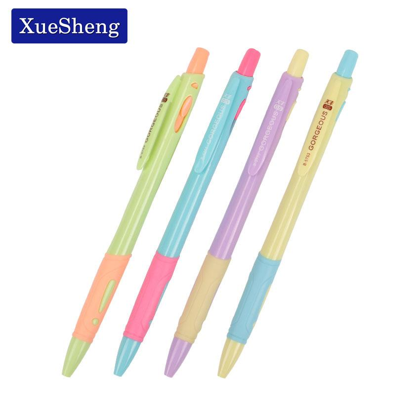 4 PCS Candy Colors Press Plastic Ball Point Pen 0.5mm Ballpoint Pen Student Learning Writing Office School Supplies B-5753