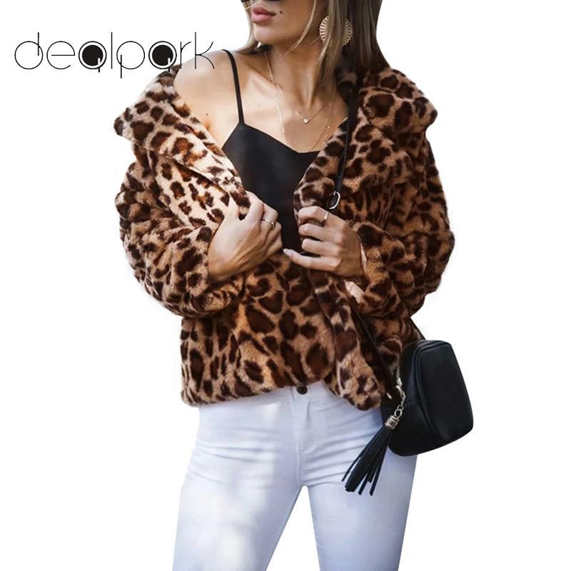 2019 Women Faux Fur Coat Leopard Print Long Sleeve Turn Down Collar Fluffy  Jacket 2018 Autumn Winter Warm Thick Outerwear Female Tops From Primali 64d934564