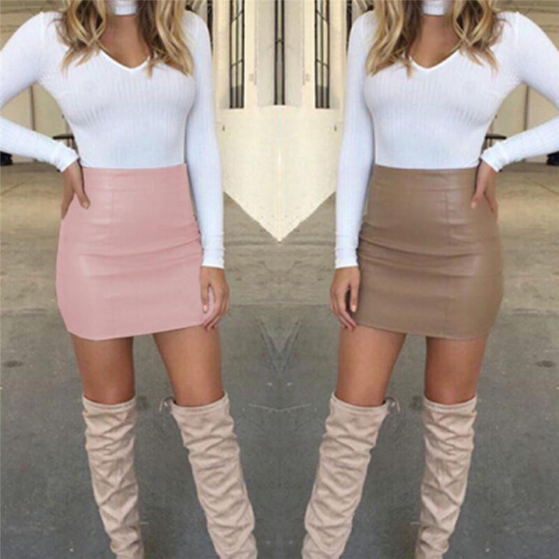 8172436ee9 2019 HOT Fashion Women Shiny Leather Skirts Female Solid Bodycon Pencil  Short Mini Skirt Woman Zipper High Waist Skirt Tight Clubwear From Cyril03