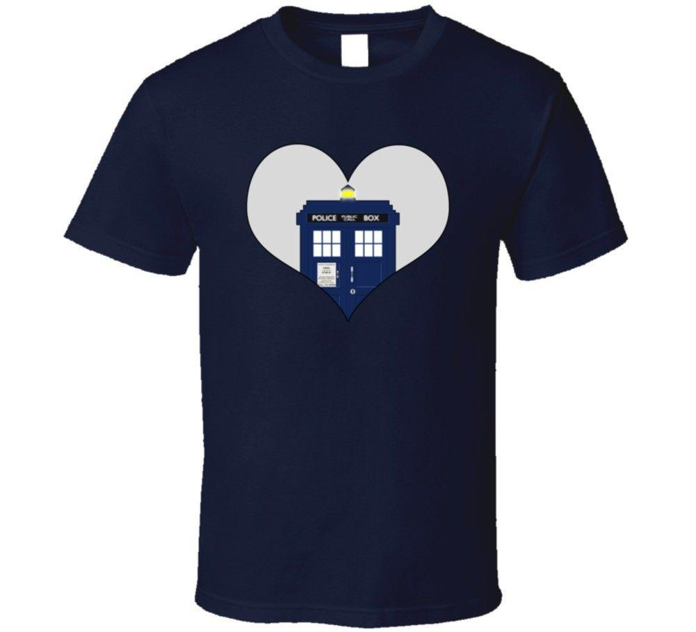 Doctor Who Heart The Tardis T Shirt Whovian Fashion T-Shirts Slim Fit O-Neck top tee 2018 Fashion Short Hot Cheap Men'S