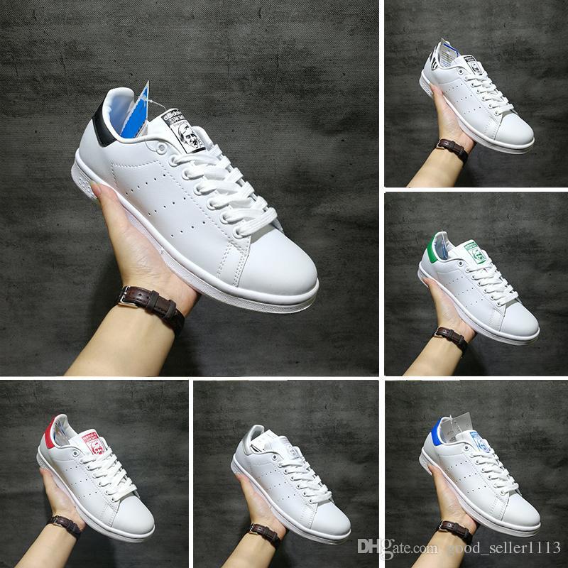 detailed look f5851 d7156 Compre Adidas Smith Shoes 2018 Smith Zapatos Casuales Baratos Raf Simons  Stan Smiths Primavera Cobre Blanco Rosa Negro Moda Hombre Cuero Marca Mujer  Hombre ...