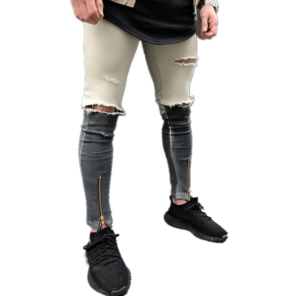 14ea6f1e8 Compre Sunfree Venta Caliente Jeans Para Hombre Ripped Jeans Hombres  Pontallon Homme Venta Caliente Envío Gratis Hombres De Negocios 3L55 A   52.68 Del ...