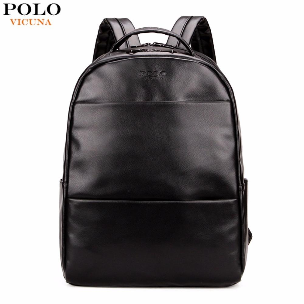 VICUNA POLO Fashion Preppy Style Unisex School Backpack For Teenage Solid  Black Men Leather Backpack Travel Backpack Bag Men Bag Justice Backpacks  Camping ... 0daa533d22e
