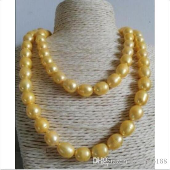 35 INCH HUGE 12-13MM NATURAL SOUTH SEA GOLD PEARL NECKLACE CHARMING YELLOW CLASP