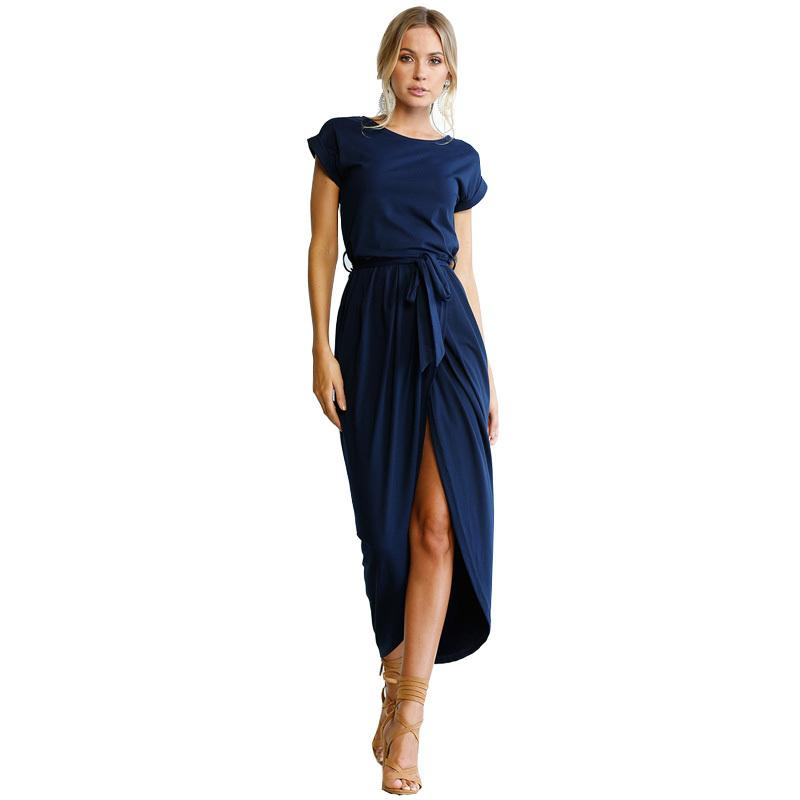 1a4aee99ce458 Plus Size Summer Dress Women Short Sleeve O Neck Split Casual Dresses  Ladies Elegant Long Dress 2019 Fashion Robe Female XS XXXL Girl Dress  Summer Dresses ...