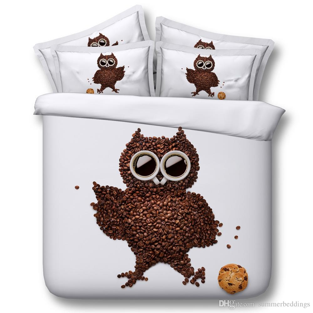 Grosshandel 3d Chocolate Owl Bettwasche Sets Tier Bettbezug Weisse