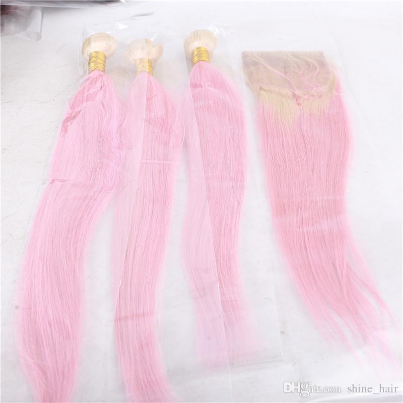 #613/розовый Ombre бразильские девственные человеческие волосы 3 связки сделок с 4x4 кружева закрытия прямые два тона Ombre человеческих волос ткет расширения