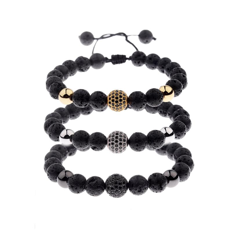 2018 Amader Charm Men Lava Bead Bracelets Men Ball Black Zircon Rope