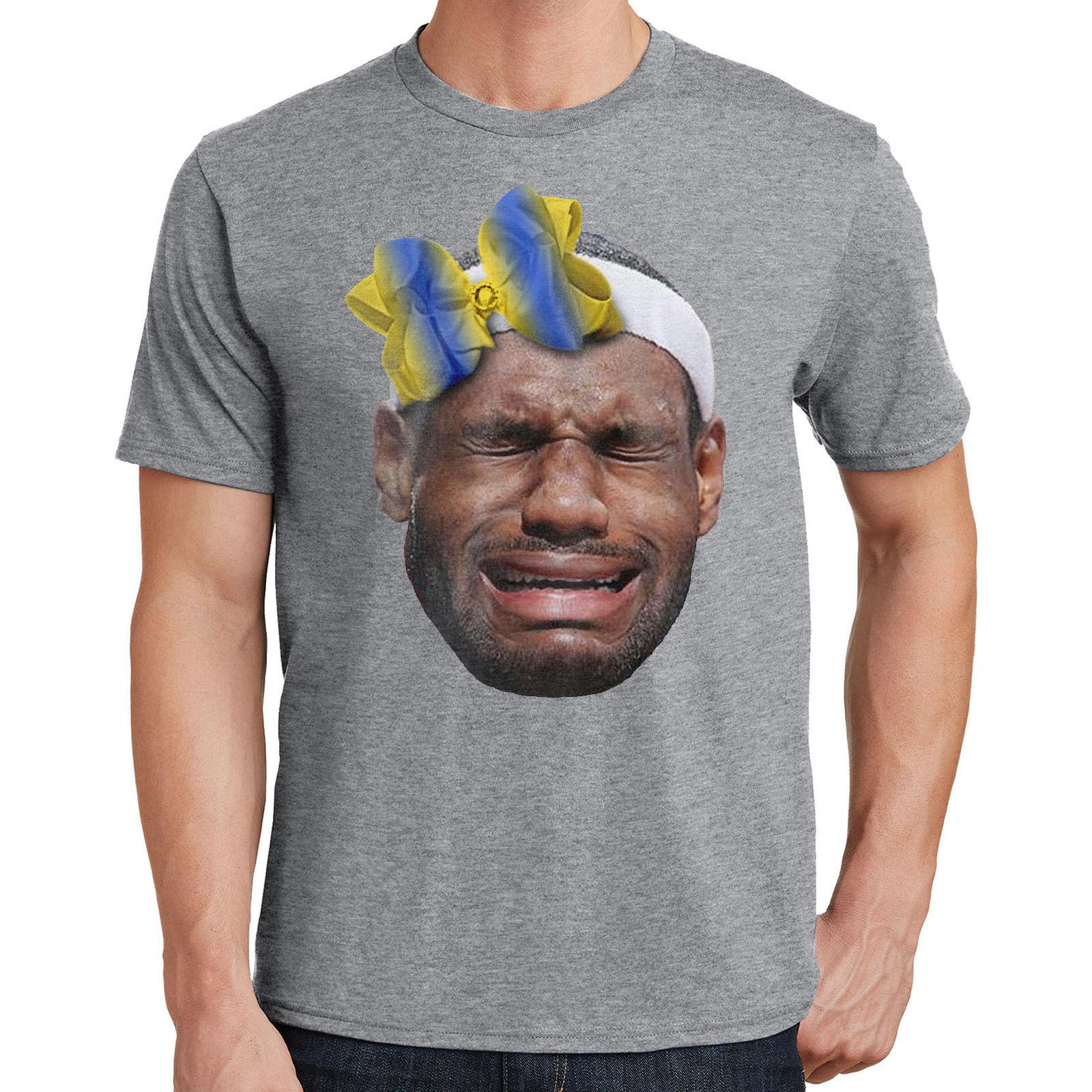 fd6cb934f7ef Lebron James T Shirt Crying Lebron Wearing A Warriors Bow 2073 Funny Unisex  Casual Original T Shirts T Shirts With Sayings From Afterlightclothing
