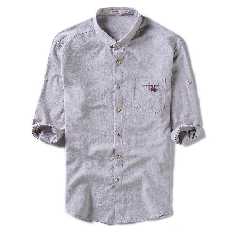 6e1c2a5b6c Compre Algodón Lino Manga Tres Cuartos Hombres Camisas Lino Moda Sólido  Casual Hombre Camisas Sueltas Y1162 A  25.02 Del Michalle