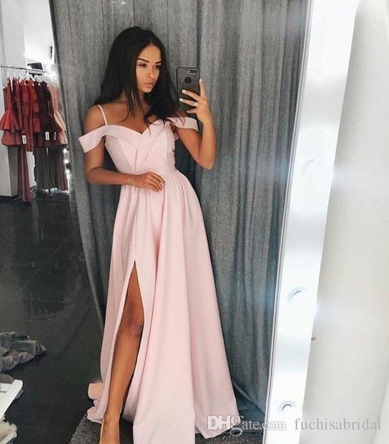 Cold Shoulder Long Prom Dress With Slit Fashion Formal Occasion