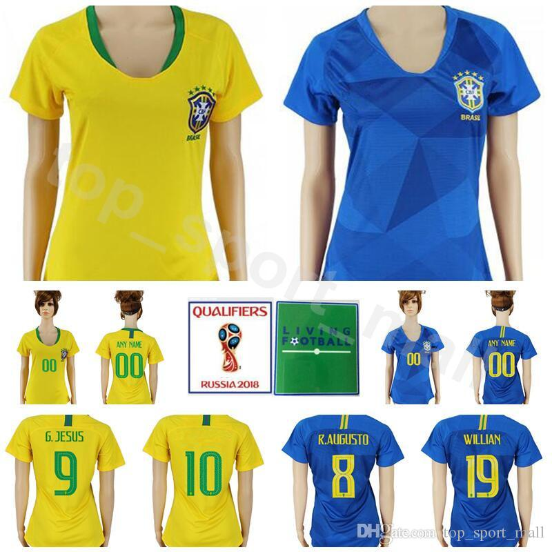 d163e8250 Women Brazil Jersey 2018 World Cup Brasil 2 SILVA 12 MARCELO 20 FIRMINO 9  JESUS 11 COUTINHO Football Shirt Kits Lady Custom Name Number