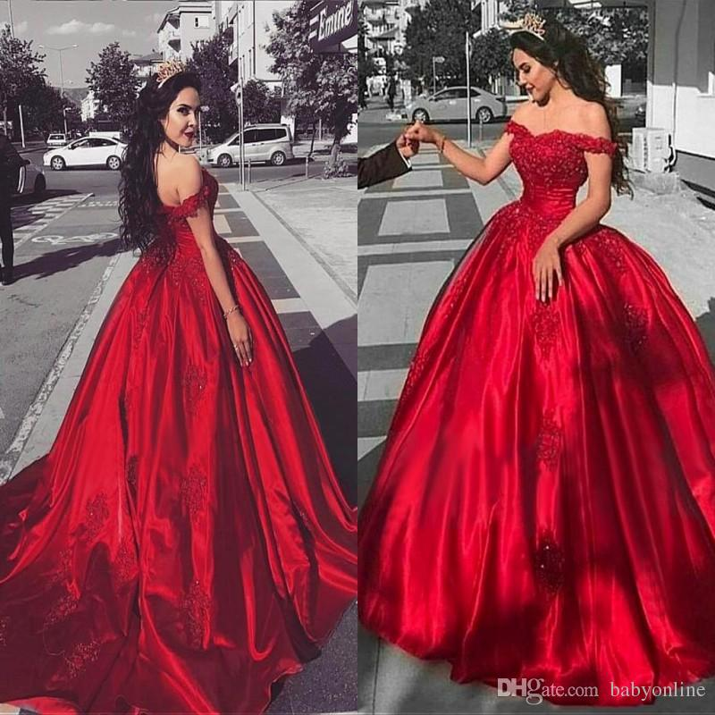 2019 Modest Quinceanera Dresses Off Shoulder Red Satin Formal Party Gowns Sweetheart Sequined Lace Applique Ball Gown Prom Dresses BA9174