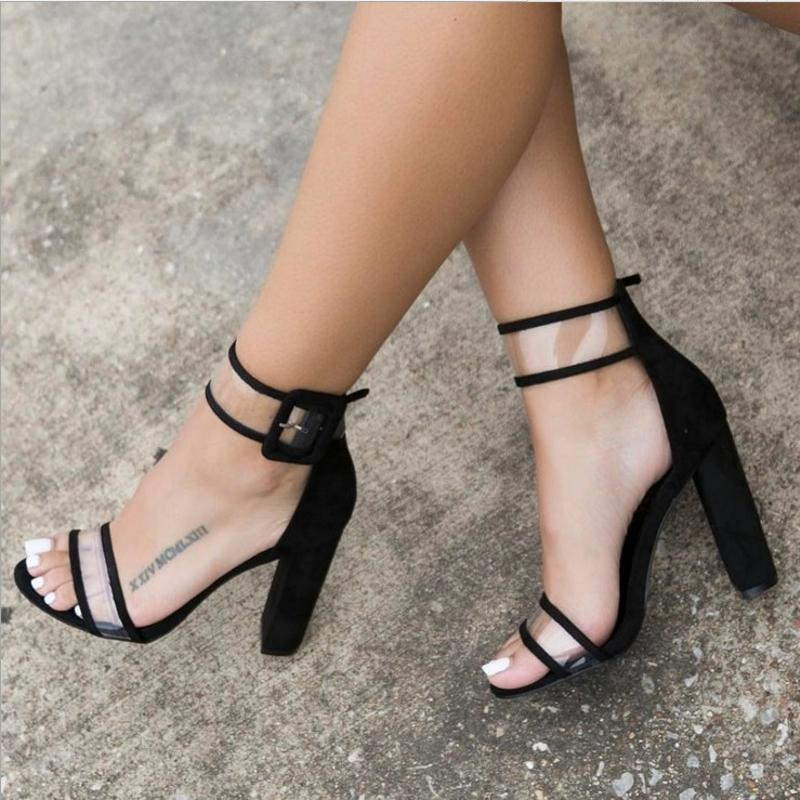 Fashion Platform High Heels PVC Pumps Shoes Open Toe Spring Summer Woman  Open Toe Sexy Girl Party Shoes Black Gold Plus Size43 Ladies Footwear  Fashion Shoes ... 4973872bf1a9