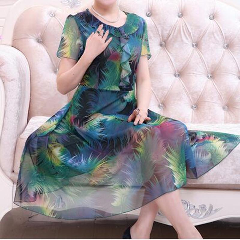 2019 Summer Thin Fat Mother Dress Middle Aged Women S Printed Chiffon Dress  Short Sleeve Loose Big Yards 40 Years Old 50 From Xx2015 b4dec7200254