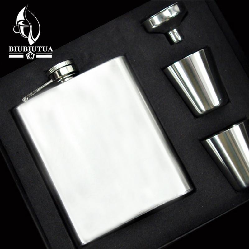 BIUBIUTUA Stainless Steel Portable Vodka Wine 7OZ Flagon+2 Goblet+1 Filling Funnel Gift Box Packing Whisky Hip Flask Gift Set