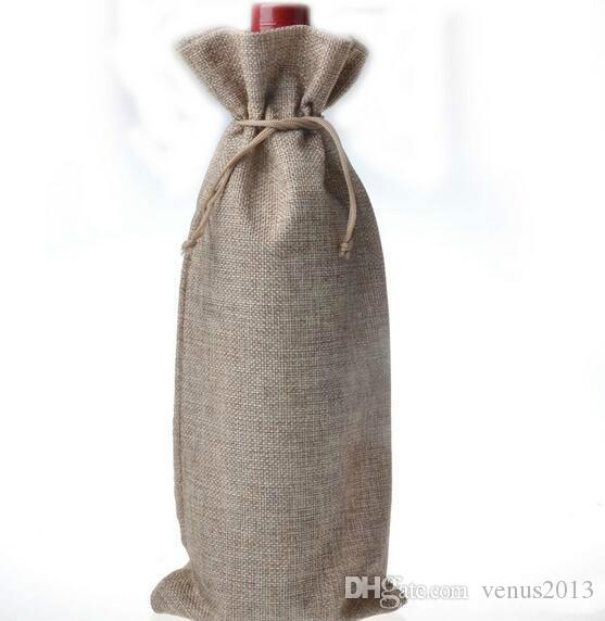 Jute Wine Bags Champagne Wine Bottle Covers Gift Pouch burlap Packaging bag Wedding Party Decoration
