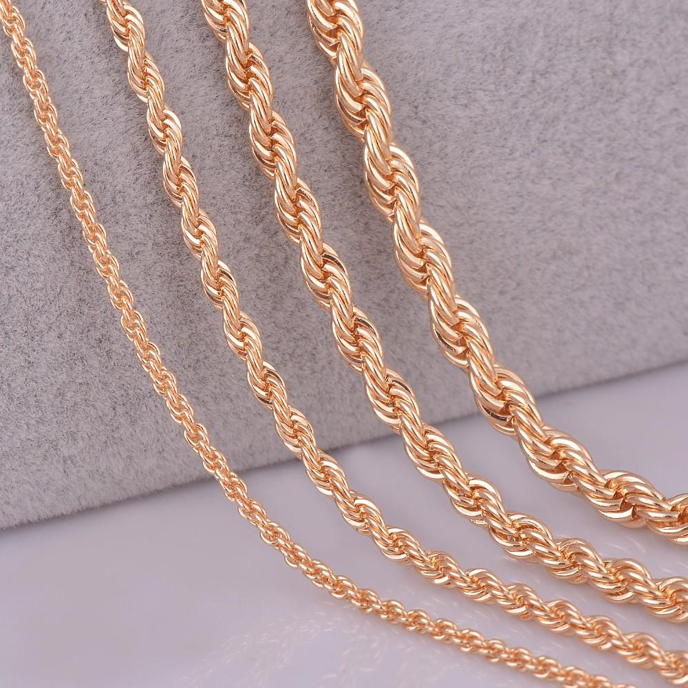 0115d231354b 2019 Whole Sale26 28 30 Gold Color Rope Chain Necklace 2mm