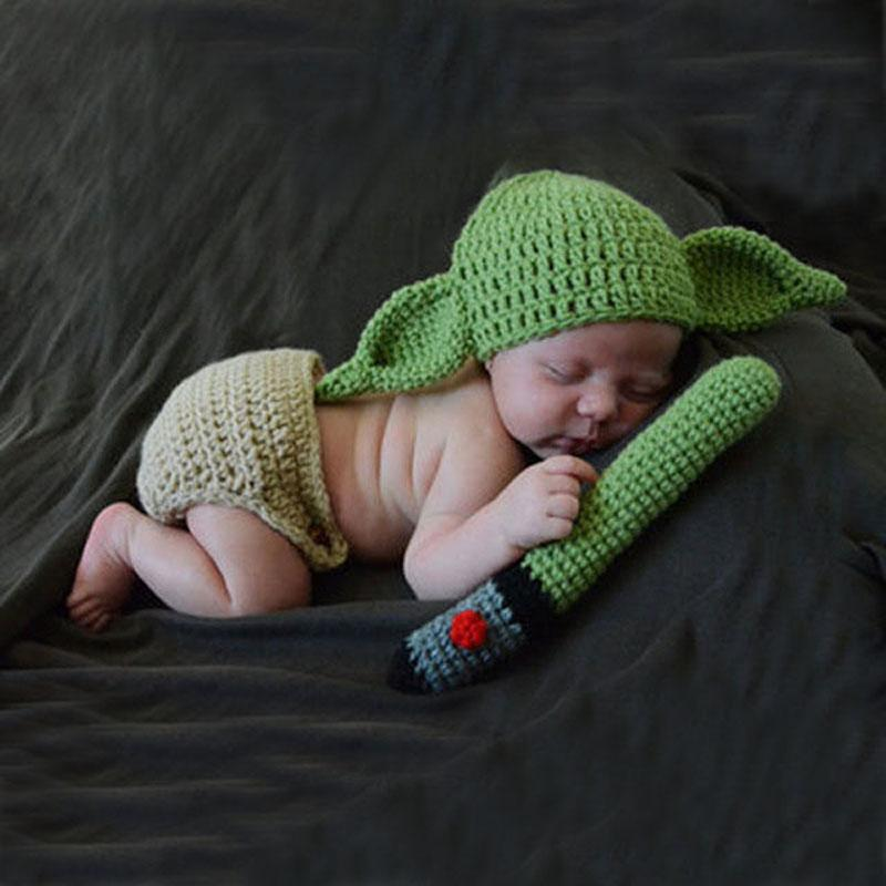 2019 HOT Master Yoda Design Newborn Photography Props Knitted Yoda Hat Baby  Diaper And Green Light Blade Set Infant Shower Gift From Uncle005 5d47aa5ad4d