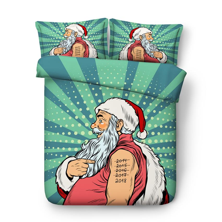 3pcs funny comical Santa Claus print bedding Christmas gift with 1 duvet cover 2 pillowcases snowman sheets for kids teens full