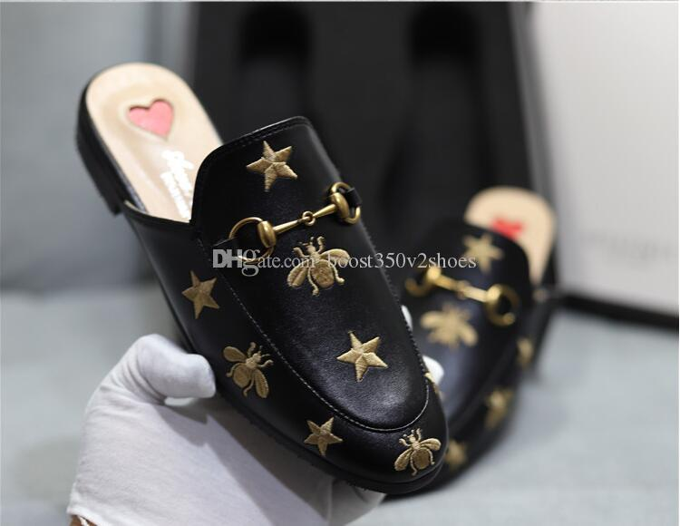 72be30b3272 Designer Luxury Women Summer Slipper Princetown Slippers Bees Snake Mules  Loafers Genuine Womens Leather Flats With Buckle Pattern With Box Casual  Shoes For ...