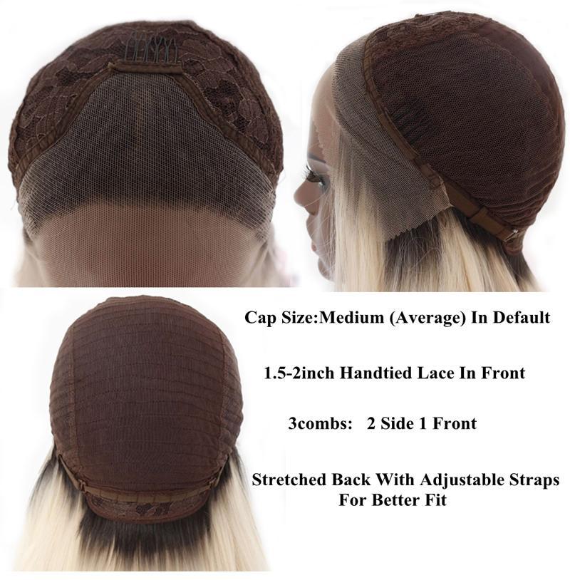 8 # marrone ombre bionde 27 # misto # 613 pettini di parrucca anteriore in pizzo sintetico naturale ondulato a destra