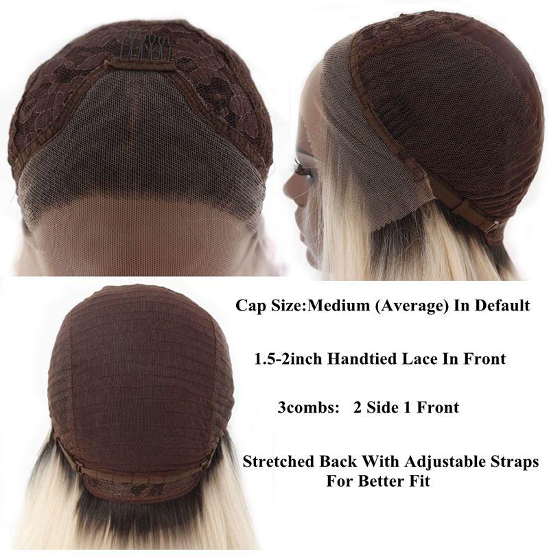 8 # ombre blonde blonde 27 # mélangée # 613 naturel ondulé partie synthétique de la perruque avant de lacet peignes