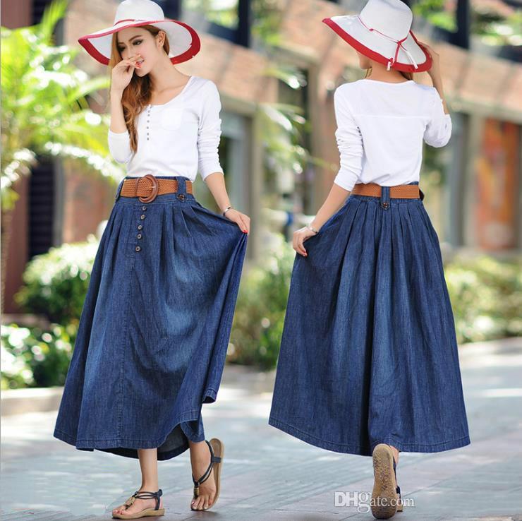 b87aae44d041 S XXXXXL Fashion Big Size Women S Cowboy Long Skirt Summer Retro Big Draped  Casual Half Pleated Skirts Dress Hot Sale Semi Formal Dress Short Black  Dresses ...