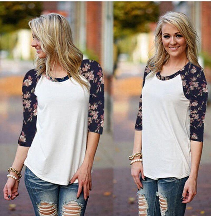 755b5466a52 Wholesale New Women Fashion Three Quarter Shirt Casual Floral T Shirt Loose  Style Cotton Shirt O Neck Raglan Sleeve Top Gray White S Xl Tee Shirts Sale  ...