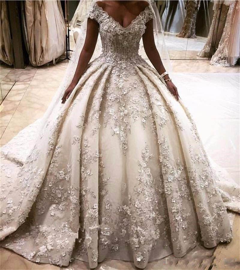 2018 luxus 3D Blume Appliques Brautkleider Schulterfrei Kristall Perlen Prinzessin Brautkleider Lange Kathedrale Zug vestidos largos