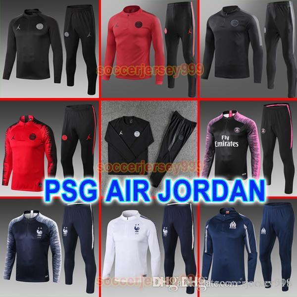 a599485998 Compre Camisas De Futebol Do PSG Paris Saint Germain FR 18 19 Treino Fato  De Treino MBAPPE Marselha Camisa De Futebol Jaqueta 2018 2019 Uniformes Kit  Adulto ...