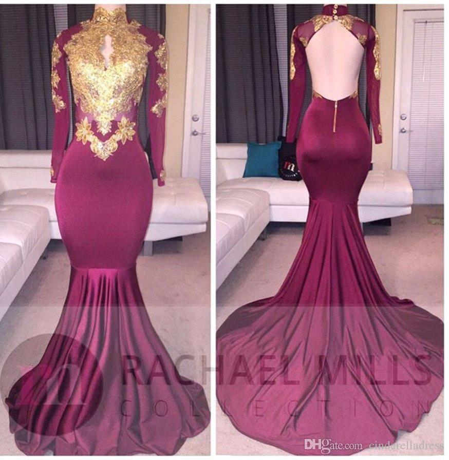 2018 African Burgundy Long Sleeve Gold Lace Prom Dresses Mermaid Satin Applique Beaded High Neck Backless Court Train Prom Party Gown BA4987